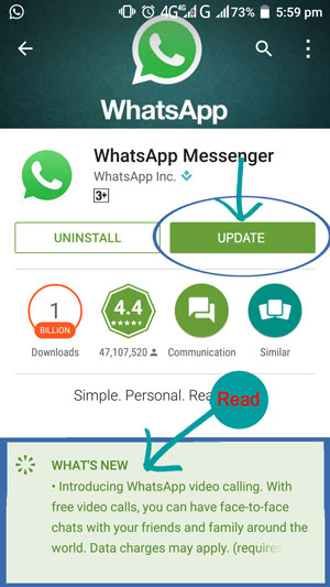 Update Whatsapp video Calling feature